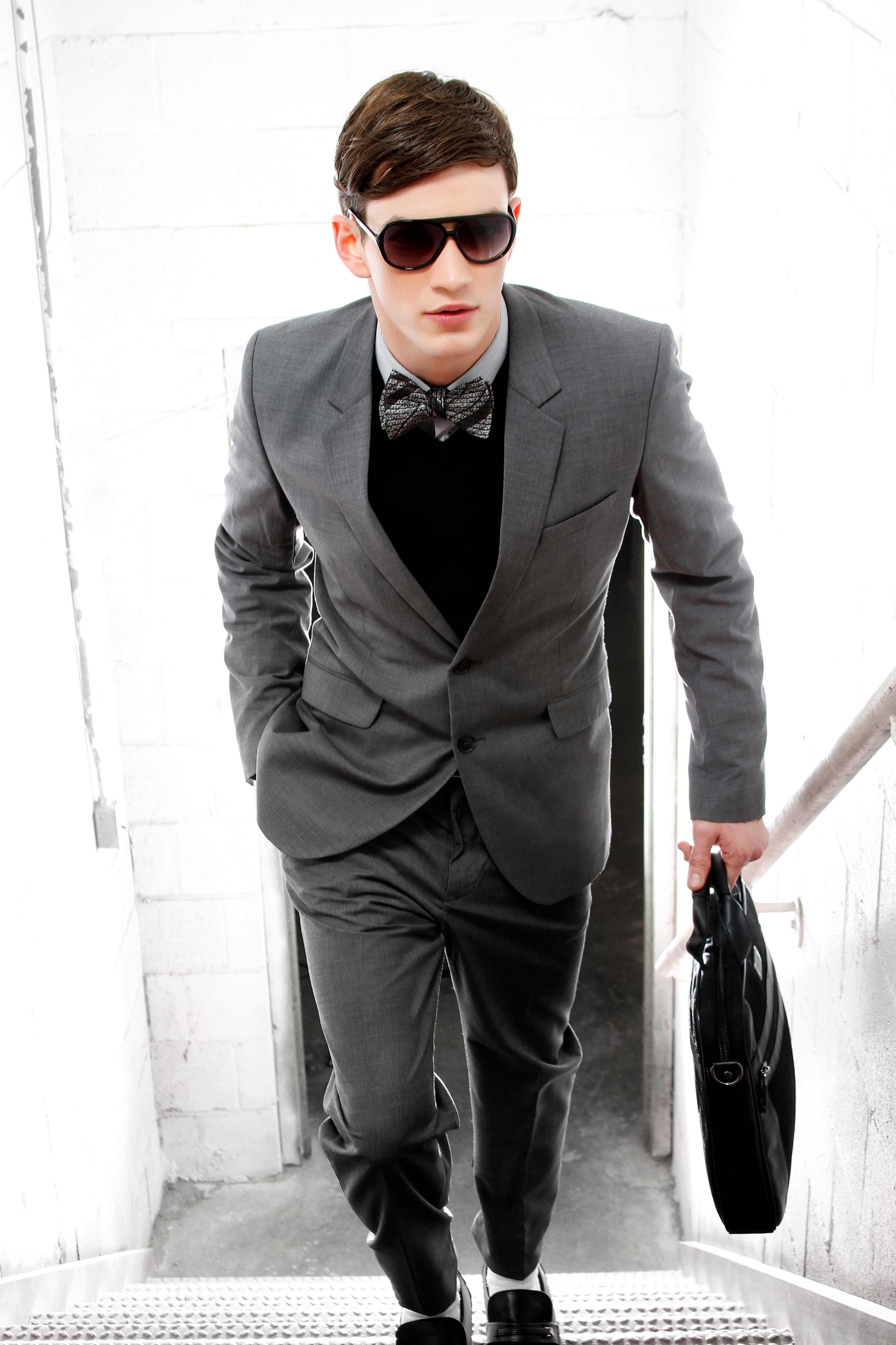 Gray Suit With Black Bow Tie Grey Suit With Bow Tie